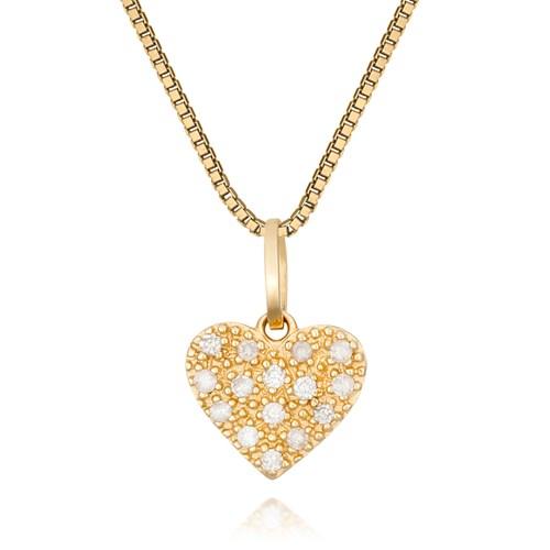 4cdd220188978 Pingente Coração Ouro Amarelo e Diamantes - Colecao Mama