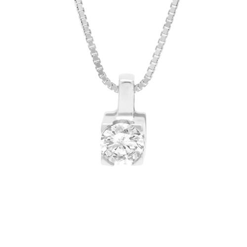 Pingente Solitário Ouro Branco e 10 Pontos de Diamantes - Colecao Solitário 48ae5cf6a7