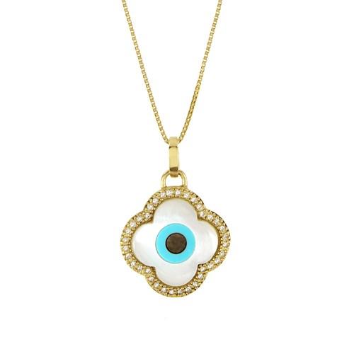 8341986e0dcba Pingente Ouro Amarelo Diamantes e Madrepérola Olho Grego Flor - Colecao  Horus