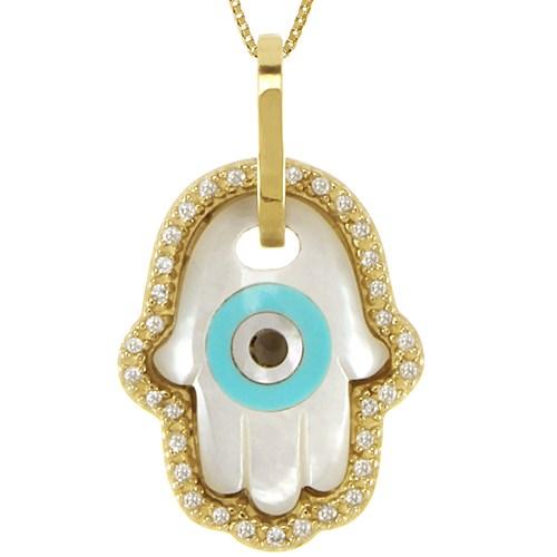 9ac4fbe5ba838 Pingente Ouro Amarelo Diamantes e Madrepérola Olho Grego Hamsá - Colecao  Horus