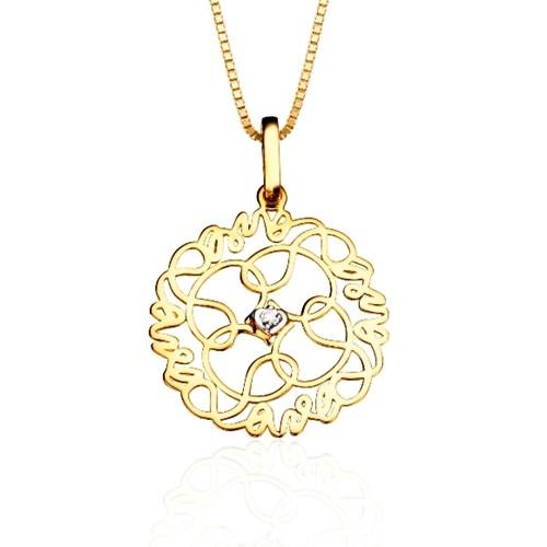Pingente Ouro Amarelo e Diamante - Colecao Mandala do Amor 649fc4ccf6