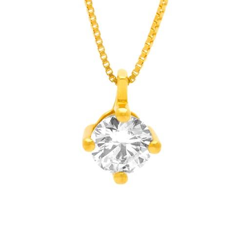 1fd1ff9e0e728 Pingente Solitário Ouro Amarelo e 40 Pontos de Diamantes - Colecao Solitário