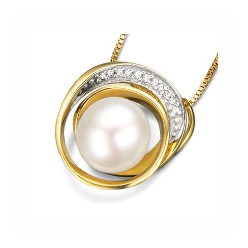 bfd11d2f9 Pingente Ouro Amarelo Pérola e Diamantes - Colecao Fitas