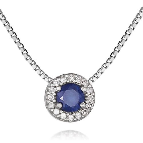 dfa87ecb9c2 Pingente Ouro Branco Diamantes e Safira - Colecao Classic Oriental