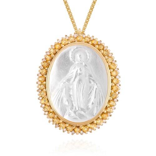 Pingente Nossa Sra das Graças Ouro Amarelo Citrino Madrepérola e Diamantes  - Colecao Medalhas af39f6d103