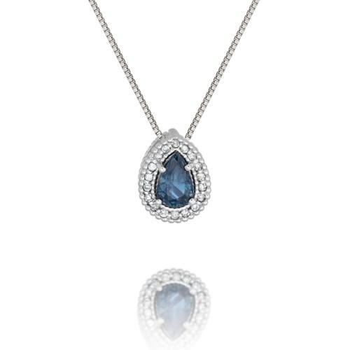 f0b89c4feeb75 Pingente Ouro Branco Diamantes e Safira - Colecao Classic Oriental