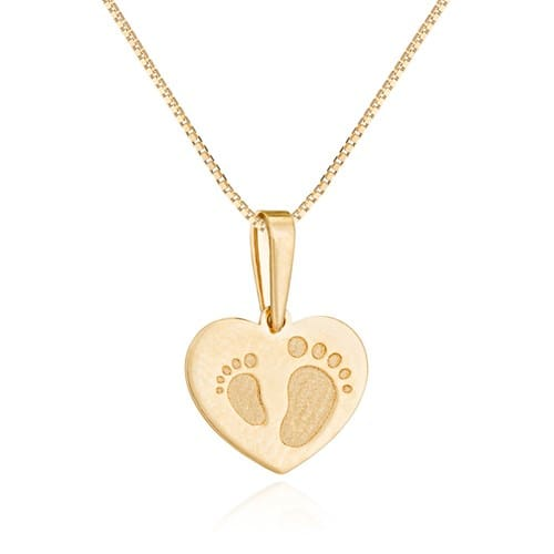 1e25ab0d7b240 Pingente Coração com Pegadas Ouro Amarelo - Colecao Mama