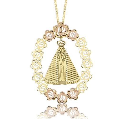 6aab3a0aea9f6 Pingente Ouro Amarelo e Ouro Rosé Nossa Senhora Aparecida - Colecao Origens