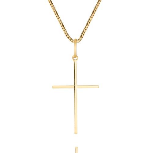 55bee83e5082a Pingente Cruz Ouro Amarelo - Colecao Medalhas