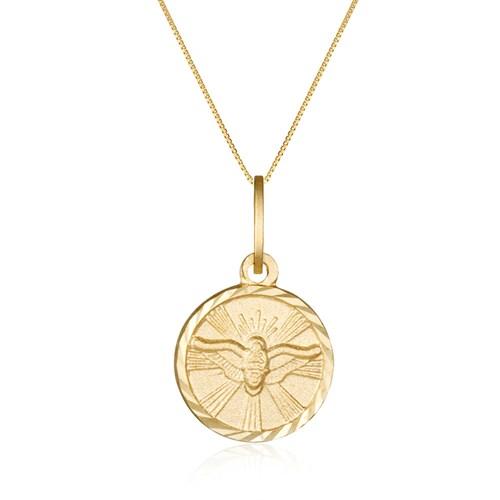 04d38758dedd8 Pingente Divino Espírito Santo Ouro Amarelo - Colecao Medalhas