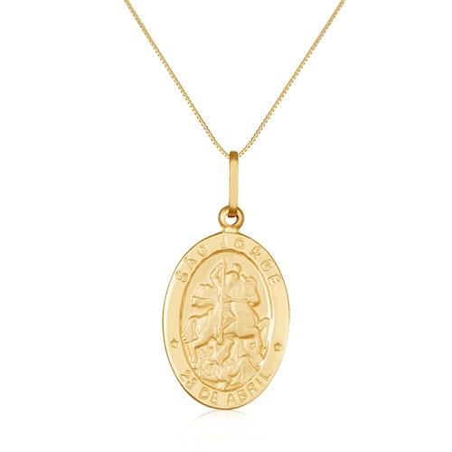 Pingente São Jorge Ouro Amarelo - Colecao Medalhas a5cec4fd0a
