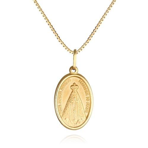645f42eebc00d Pingente Medalha Ouro Amarelo Nossa Senhora Aparecida - Colecao Medalhas