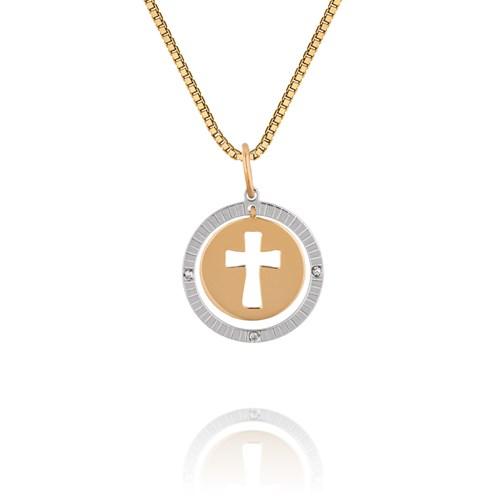Pingente Cruz Ouro Amarelo Ouro Branco e Diamantes - Colecao Medalhas d51c8f31d4