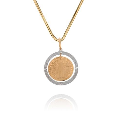 51128f191823e Pingente Medalha Ouro Amarelo Ouro Branco e Diamante São Bento - Colecao  Medalhas