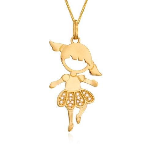 5c6d002029048 Pingente Menina Bailarina Ouro Amarelo e Diamantes - Colecao Mama