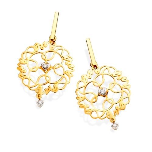 Brinco Ouro Amarelo Ouro Branco e Diamantes - Colecao Mandala do Amor 4b58bfe331