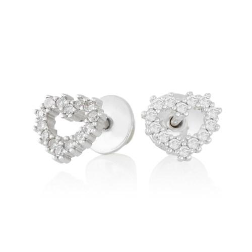 ff60ae572ddb9 Brinco Coração Ouro Branco e Diamantes - Colecao Baby