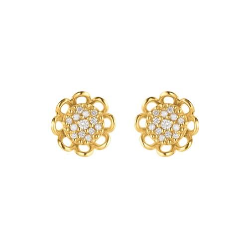 5120b0d9a78 Brinco Pavê Ouro Amarelo e Diamantes - Colecao Pave Flor