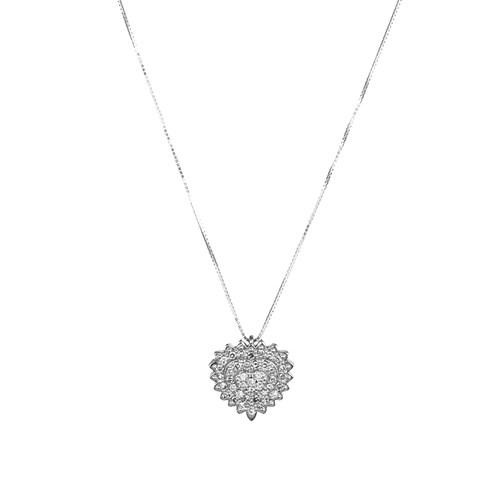 d9e42444af034 Colar Coração Ouro Branco e Diamantes - Colecao Classic