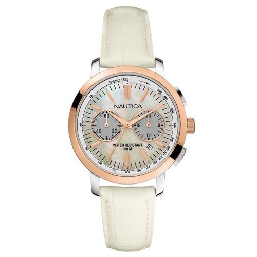 d5ed2b82f11 Relógio Nautica Feminino Couro Branco - A19579M