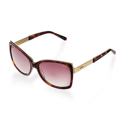 Óculos de Sol Retangular em Acetato Tartaruga e Dourado f59f1ae2d1