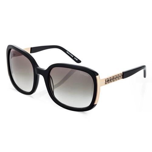 Óculos de Sol Quadrado em Acetato Preto e Dourado 6818ea44ff