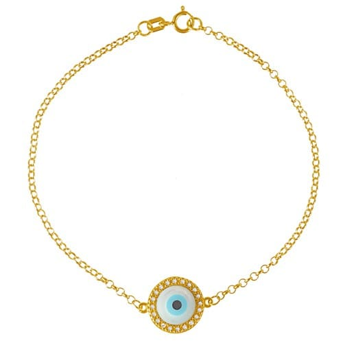 Pulseira Ouro Amarelo Diamantes e Madrepérola Olho Grego - Colecao Horus d99ce30b2b