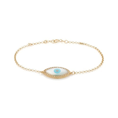 Pulseira Ouro Amarelo Diamantes e Madrepérola - Colecao Horus f3413df8d3