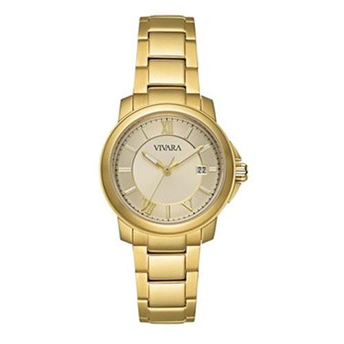 b20e59a9467 Relógio Vivara Feminino Aço Dourado - DS09262C-1